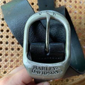 Harley Davidson black leather belt, size 36